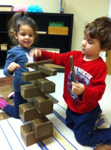 Preschooler Henry and Emily with Tower